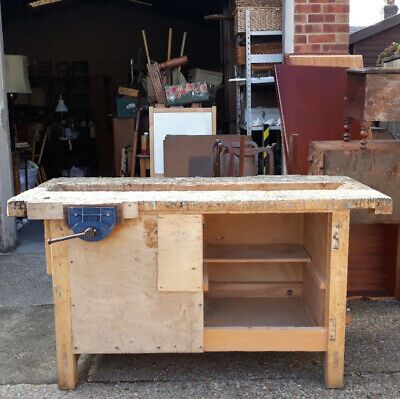 £125 • Buy Vintage School Carpenter's Woodwork Workshop Bench With 2 Record No.52P Vices