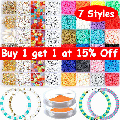 £10.99 • Buy 1 Set Polymer Clay Beads Spacer For DIY Bracelets Jewelry Making Finding VM UK