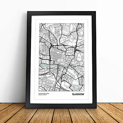 £11.95 • Buy Map Glasgow Uk Wall Art Framed Print Picture