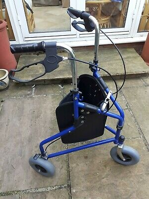 £20 • Buy Blue 3 Wheel Folding Mobility Walker, With Storage/shopping Bag