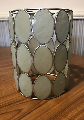 £15 • Buy Vintage Tiffany Style Capiz Shell Light Shade Metal & Shell Art Silver With Blue