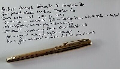 £39.95 • Buy Parker Sonnet 14k Dimonite G Gold Plated Fountain Pen Medium Nib Used With Box