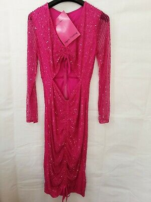 £12.50 • Buy Hot Pink Sequin Midi Dress Size 10 New With Tags