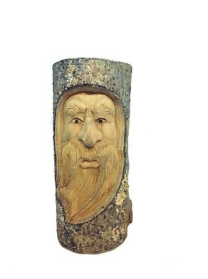 £18.99 • Buy 30cm Wooden Hand Carved Wizard Forest Green Man Full Log Home Garden Ornament