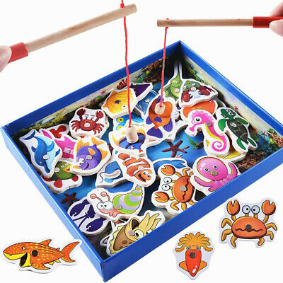 £12.79 • Buy 32 Pcs Magnetic Fishing Game Toy Kids Children-Early-Education 3D Wooden Toys