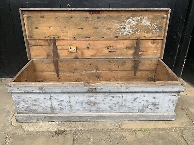 £60 • Buy Old Antique Pine Chest, Vintage Wooden Storage Trunk, Blanket Box, Coffee Table