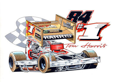 £6 • Buy BriSCA F1 Stock Car A3 Sized Caricature Print Of Tom Harris No84