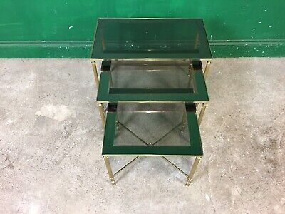 £125 • Buy Set Of 3 Brass And Glass Nest Of Tables. Courier Available