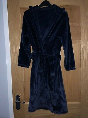£2.99 • Buy M&S Boys Cozy Navy Blue Velour Dressing Gown Age 11-12