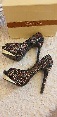 £6.99 • Buy Stunning Multi Colour Encrusted Shoes Sz 7