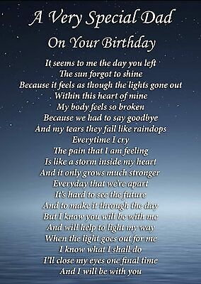 £2.99 • Buy A Very Special Dad On Your Birthday Graveside Poem Memorial Card & Stake F282