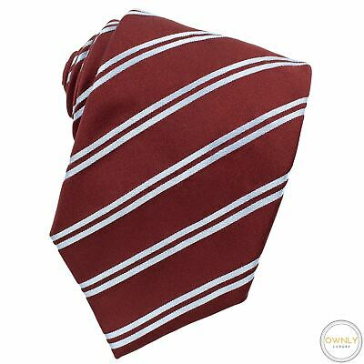 £7.32 • Buy Zegna Red Blue 100% Silk Striped Glossy Tipped Italy Tie