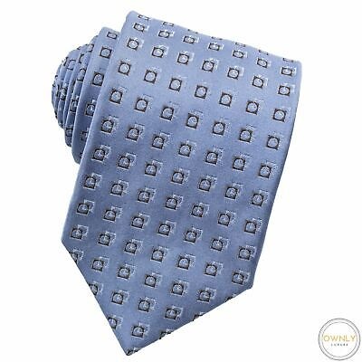 £7.32 • Buy Zegna Blue Brown 100% Silk Cubed Handmade Glossy Tipped Tie