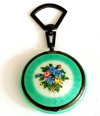 £51.94 • Buy Antique Foster & Bailey Sterling & Green Guilloche Enamel Compact With Handle.