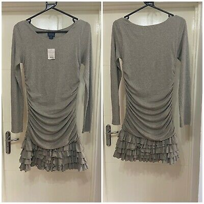 £18 • Buy Polo Ralph Lauren Girls LS Ruched Grey Long Sleeve Dress Size Age XL (16) Years