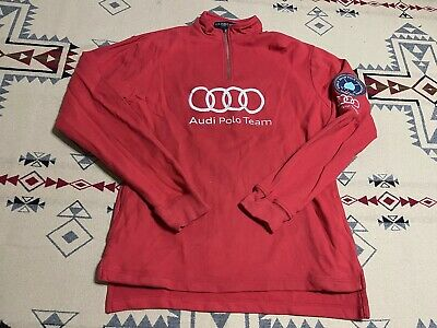 £21.79 • Buy 2013 US Polo Assn Audi Team 1/4 Zip Red Shirt Size L Alpine Championships C8