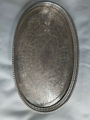 £10 • Buy Viners Of Sheffield Vintage Silver Alpha Plated Chased Gallery Tray,37 Cm X24 Cm
