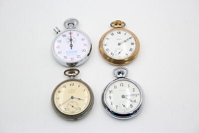£23 • Buy 4 X Vintage Gents STOP / POCKET WATCHES Hand-Wind WORKING Inc. Smiths, Ingersoll