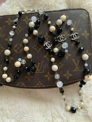 £1100 • Buy CHANEL Fashion Pearl Necklace, Black & White With Chanel Logo