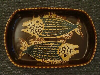 £24.99 • Buy Jean Hampton Signed Studio Pottery Dish Decorated With Two Fish  21/399S
