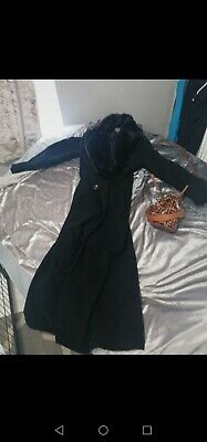 £50 • Buy VINTAGE Black Wool TRENCH COAT ADMYRA UK 10-12 Duster Fit Flare Riding Victorian