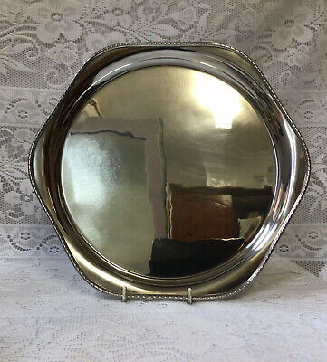 £1150 • Buy George V Art Deco 1932 RF Mosley & Co Beaded Solid Silver Salver, Wine Tray 30cm