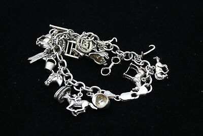 £23 • Buy .925 Sterling Silver CHARM BRACELET W/ Horse Riding/Racing Charms (44g)
