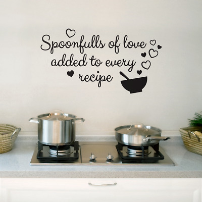 £3.99 • Buy Spoonfuls Of Love Family Kitchen Wall Stickers DIY Wall Decoration Vinyl Decal