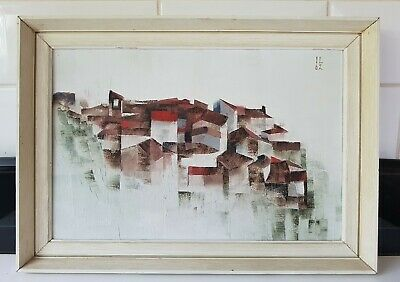 £55 • Buy Vintage Mid Century 1960's French Abstract Landscape Oil Painting Signed