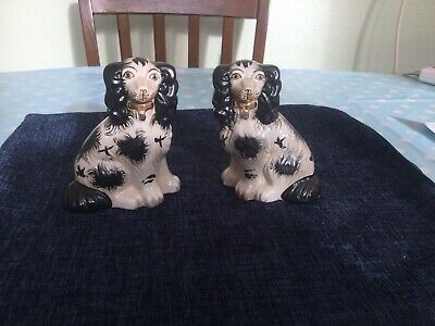£25.99 • Buy Vintage Small Pair Of Black And White Staffordshire Flatback Spaniels.