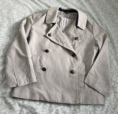 £3.20 • Buy Toast Linen Mix Jacket 10 38 Beige Double Breasted 3/4 Sleeve Nautical Lined Vgc