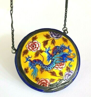 £15 • Buy Antique German Sterling Silver Blue Guilloche Enamel Compact With Dragon