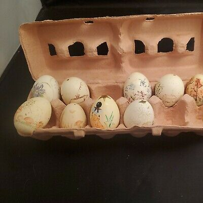 £25.45 • Buy Vtg EGGS Set Of 9 Hand Painted Blown Out Real Chicken Eggs Easter Flowers House