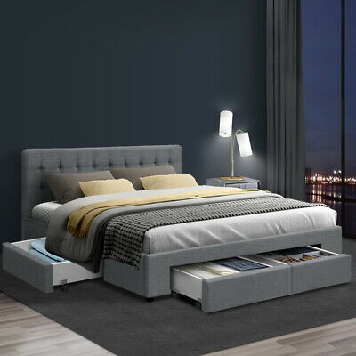AU339.90 • Buy Artiss Bed Frame Double Full Size Base Mattress With Storage Drawer Fabric