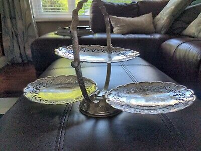 £0.99 • Buy Vintage Queen Anne Silver Plated Folding Cake Sandwich Stand Engraved  Wedding