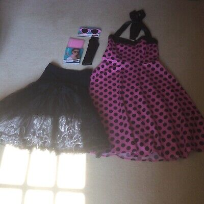 £10 • Buy 1950s/ 1960s Rock N Roll/ Grease Style Dress, Underskirt, Sunglasses And Scarf.