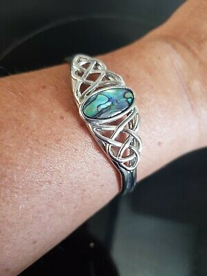£5 • Buy Bundle Of 2 X Celtic Style Silver Bangles With Set Stones