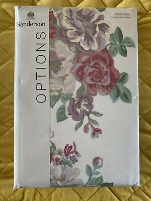"""£45 • Buy Sanderson Midsummer Rose (Lilac/Rose) Lined Curtains 66"""" X 72"""""""