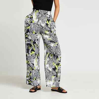 £30 • Buy River Island Womens Black Floral Print Pleated Wide Leg Trousers - Size 10