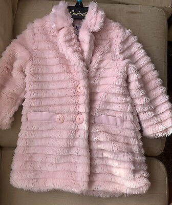 £27.99 • Buy COUCHE TOT BABY GIRLS PINK FAUX FUR DIAMONTE BUTTON COAT 1/2 Yr