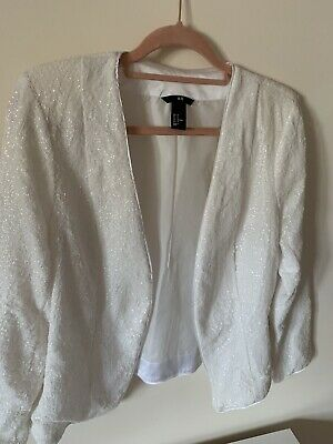£8.50 • Buy H & M White Sequin Jacket, Worn Twice.  Great For Christmas And With Jeans.