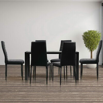AU306.90 • Buy Artiss 7-pc Dining Table And Chairs Set Glass Tables Leather Seat Chair Black