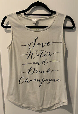 £7.02 • Buy Lightly Worn Women's Sz Small Natural  Save Water Drink Champagne  Tank Top