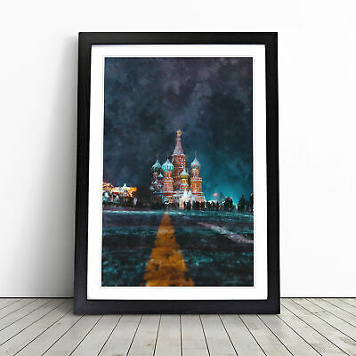 £18.95 • Buy St Basils Cathedral At Night Painting Wall Art Framed Print Picture