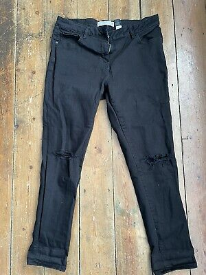 £3.20 • Buy Womens Next Vintage Black Relaxed Skinny Jeans Size 14 Ripped At The Knees