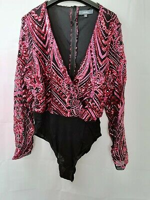£5.50 • Buy Studio Pink & Black Sequin Bodysuit Size 16 New Without Tags