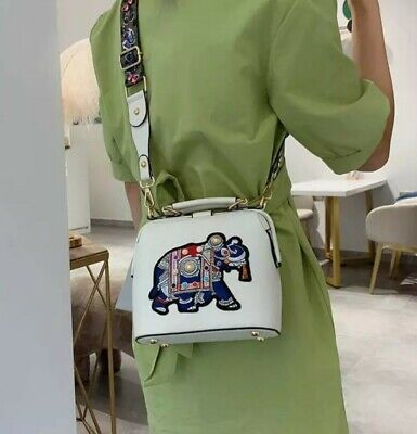 £29.99 • Buy White  Pu Vegan  Leather Unique Quirky Ethnic Elephant Shoulder Crossover Bag
