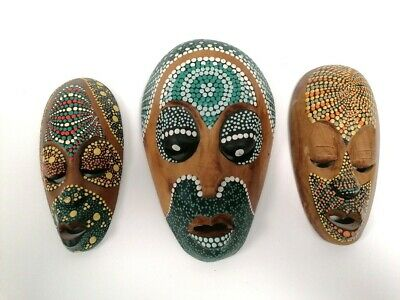 £9.99 • Buy Wooden Tribal Mask Set X3 Wall Art Colourful Hand Painted Carved African Art