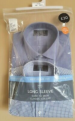 £14.50 • Buy New M&S Set Of 2 Blue Formal SHIRTS Collar 15 Regular Fit Long Sleeve Easy Care