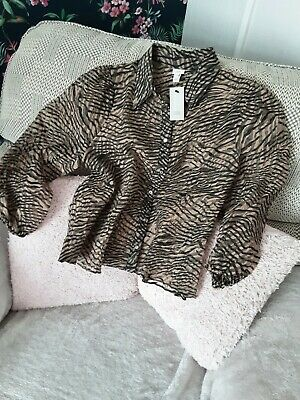 AU7.90 • Buy River Island Brown Zebra Print Sheer Top Size 12 New With Tags